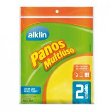 Pano Multiuso Amarelo 40cmx36cm Alklin - Pacote com 2 Unidades