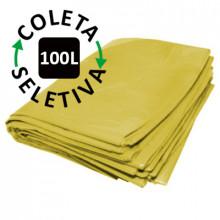 Saco para Lixo 100 Litros - Coleta Seletiva Amarelo - 100 unidades