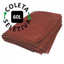 Saco para Lixo 60 Litros - Coleta Seletiva Marrom - 100 unidades
