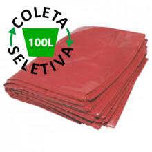 Saco para Lixo 100L BL Coleta Seletiva Vermelho com 100 Unidades