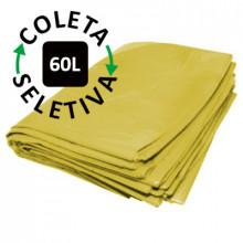 Saco para Lixo 60 Litros - Coleta Seletiva Amarelo - 100 unidades