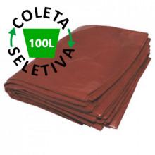 Saco para Lixo 100 Litros Boca Larga - Coleta Seletiva Marrom - 100 unidades