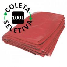 Saco para Lixo 100 Litros - Coleta Seletiva Vermelho - 100 unidades