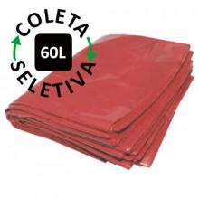 Saco para Lixo 60 Litros - Coleta Seletiva Vermelho - 100 unidades