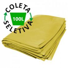 Saco para Lixo 100 Litros Boca Larga - Coleta Seletiva Amarelo - 100 unidades