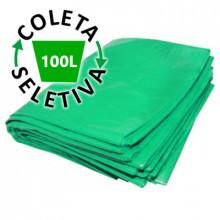 Saco para Lixo 100 Litros Boca Larga - Coleta Seletiva Verde - 100 unidades
