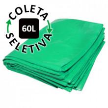 Saco para Lixo 60L - Coleta Seletiva Verde - c/ 100 un.