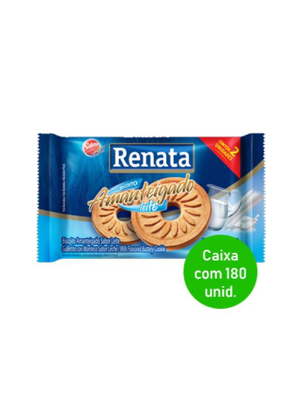 Biscoito Amanteigado Leite Renata Sachê 9g - Caixa com 180