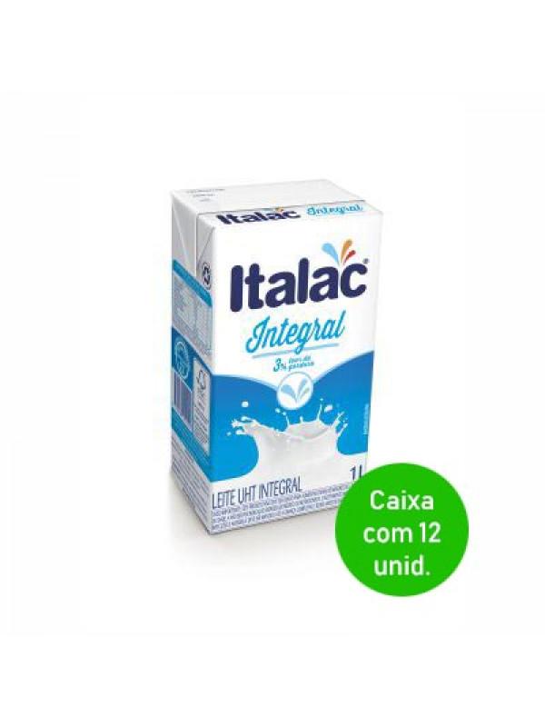 Leite UHT Integral Italac 1 Litro - Caixa com 12 Unidades
