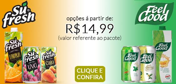 Sucos Sufresh e chás Feel Good